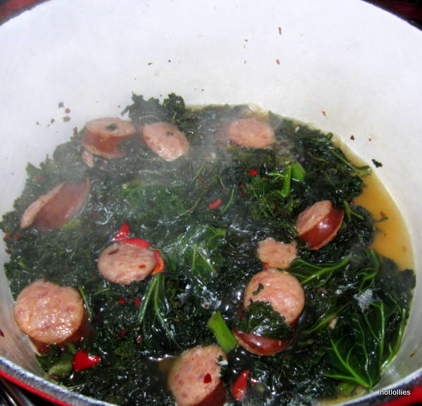 Kale and kielbasa in broth