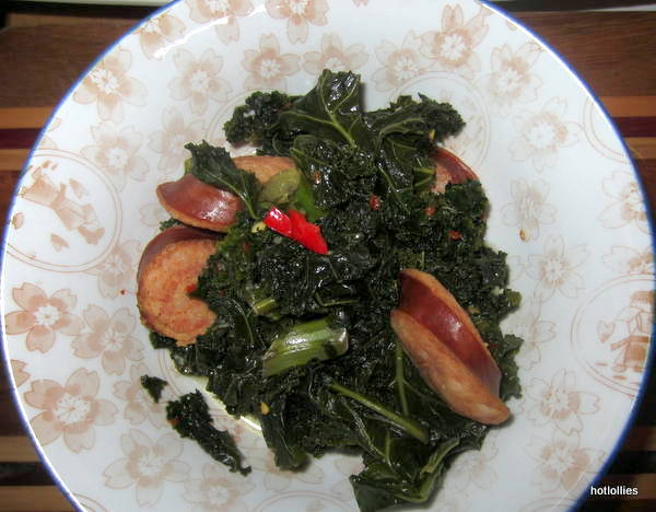 spicy kale and kielbasa in a bowl