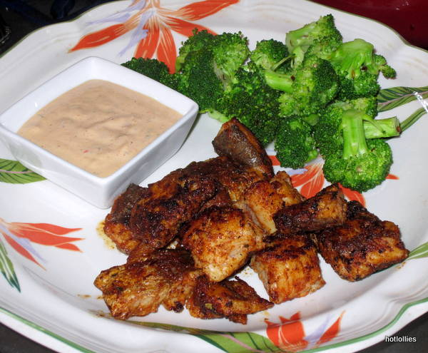 Blackened Whiting with broccoli