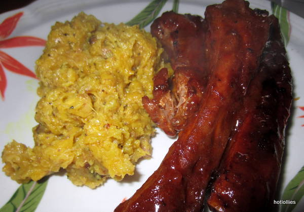 BBQ ribs and curried plantain mash